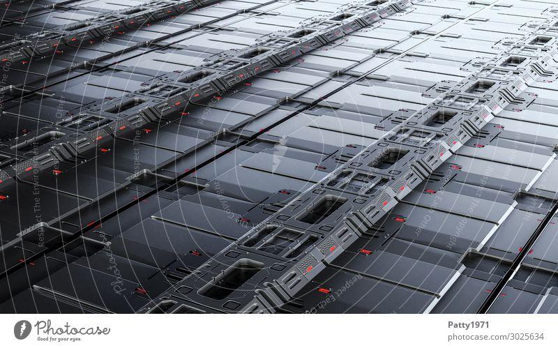 Tech Perspective 01 - 3D render Computer Hardware Technik & Technologie High-Tech Industrie Raumfahrt Bodenplatten Hintergrundbild Metall dunkel eckig kalt