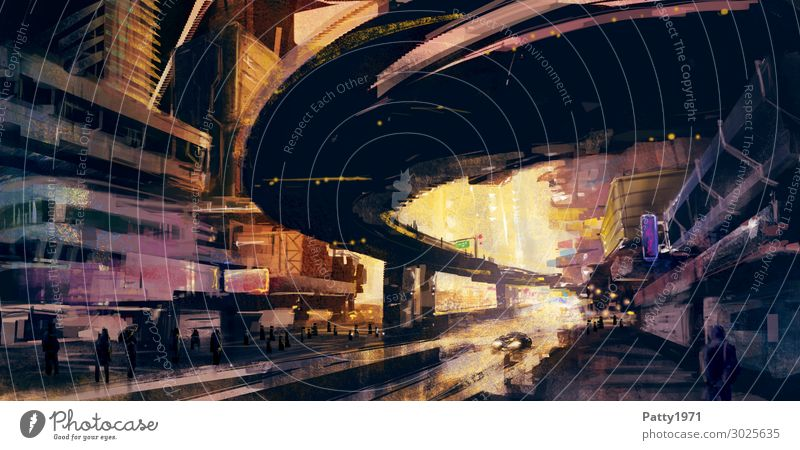 Downtown Dawn Stadt dunkel schwarz Straße Architektur Wärme gelb Wege & Pfade Business Gebäude orange Stimmung modern Hochhaus ästhetisch Kreativität