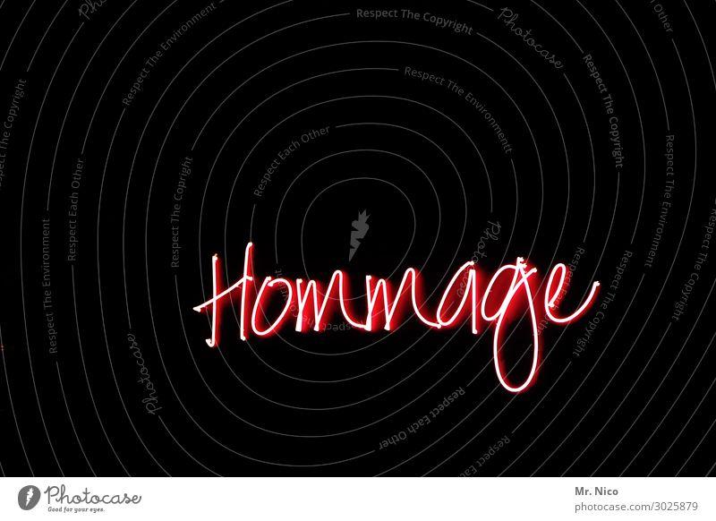 Hommage Kunst rot schwarz hommage Künstler Kunstwerk Typographie Buchstaben Schriftzeichen Neonlicht Leuchtreklame Licht Schilder & Markierungen Leuchtkörper