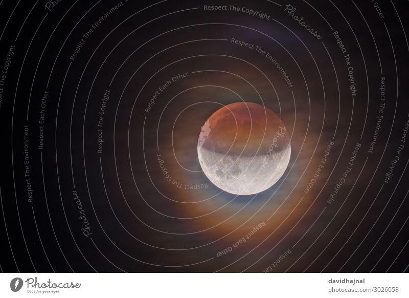 Partielle Mondfinsternis 16. Juli 2019 Himmel Natur Sommer rot Wolken Umwelt Deutschland orange Europa Technik & Technologie ästhetisch Zukunft Stern beobachten