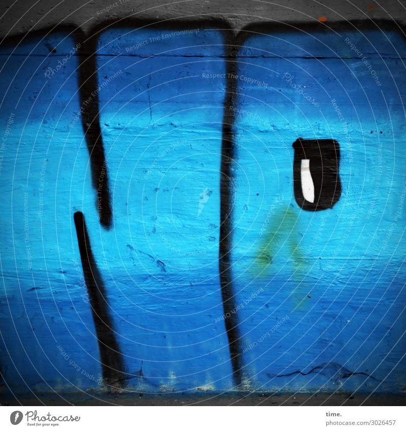 NO | UT Kassel Kunst Kunstwerk Gemälde Mauer Wand Zeichen Schriftzeichen Graffiti dunkel einfach kalt kaputt trashig blau Willensstärke Leben Ausdauer Wut