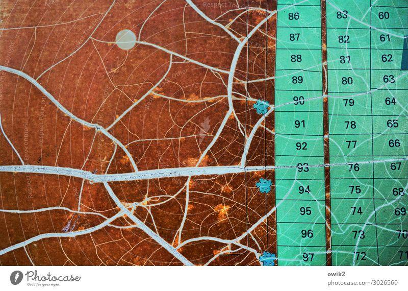 Durchnummeriert Kunststoff Zeichen Ziffern & Zahlen alt eckig Zusammensein braun orange türkis Verfall Vergänglichkeit Ordnung Plan Kleingartenkolonie Wien