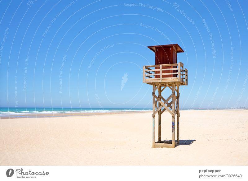 Wachstation Ferien & Urlaub & Reisen Tourismus Ferne Sommer Sommerurlaub Sonnenbad Strand Meer Wellen Sand Wasser Himmel Wolkenloser Himmel Schönes Wetter Küste