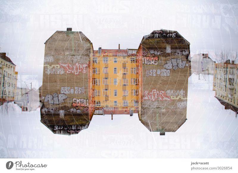 Doppelhaushälfte Straßenkunst Stadthaus Fassade Brandmauer Graffiti außergewöhnlich fantastisch einzigartig komplex Kreativität skurril Surrealismus Symmetrie