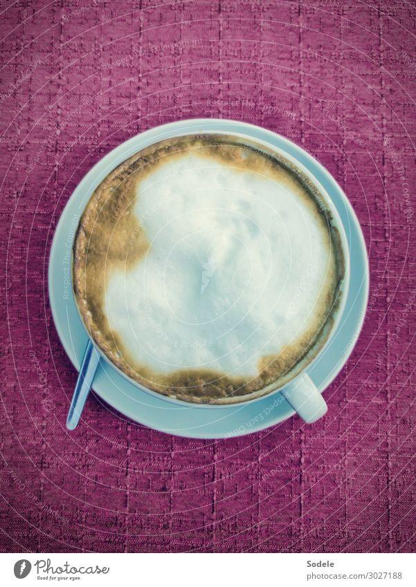 Tasse Cappuccino mit Milchschaum Getränk Heißgetränk Kaffee Löffel Stil Restaurant trinken authentisch Flüssigkeit heiß lecker Gastfreundschaft Genusssucht