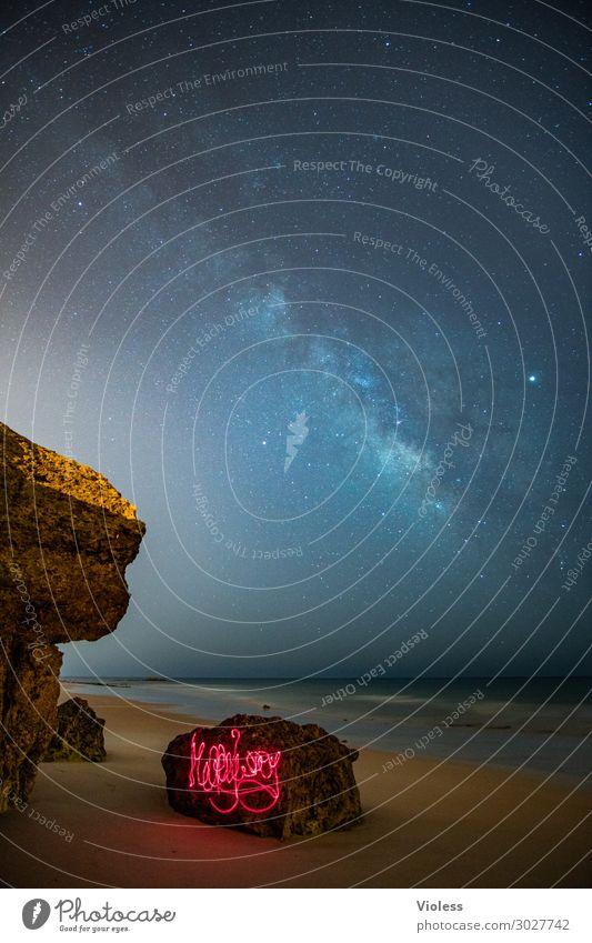 MilkyWay III Umwelt Natur Landschaft Urelemente Himmel Wolkenloser Himmel Nachthimmel Stern Horizont Felsen Wellen Küste Strand Meer beobachten glänzend dunkel