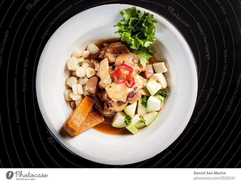 Pilz-Ceviche mit peruanischem Mais Lebensmittel Fleisch Gemüse Salat Salatbeilage Ernährung Essen Mittagessen Abendessen Büffet Brunch Festessen Bioprodukte