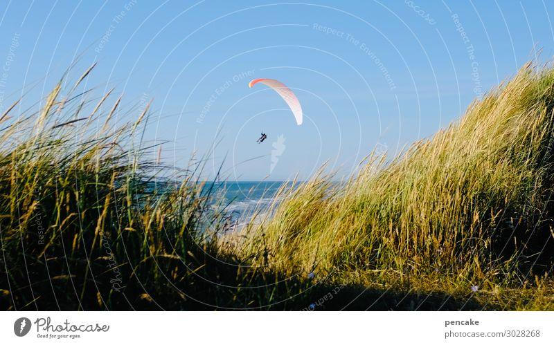 luftig | durch die mitte Mensch Natur Sommer Landschaft Meer Wärme Sport Küste fliegen Sand Freizeit & Hobby Schönes Wetter Urelemente Wolkenloser Himmel Mitte