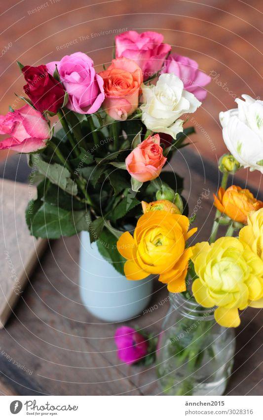 Farbenfroh Dekoration & Verzierung Innenaufnahme Blume Blüte mehrfarbig pflücken Vase Holz Rose rosa weiß Geld orange rot