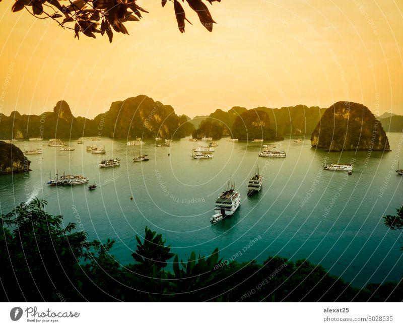 Halong Bucht - Vietnam Ferien & Urlaub & Reisen Kreuzfahrt Meer Insel Berge u. Gebirge Natur Landschaft Erde Himmel Felsen Dorf Wasserfahrzeug lang Asien