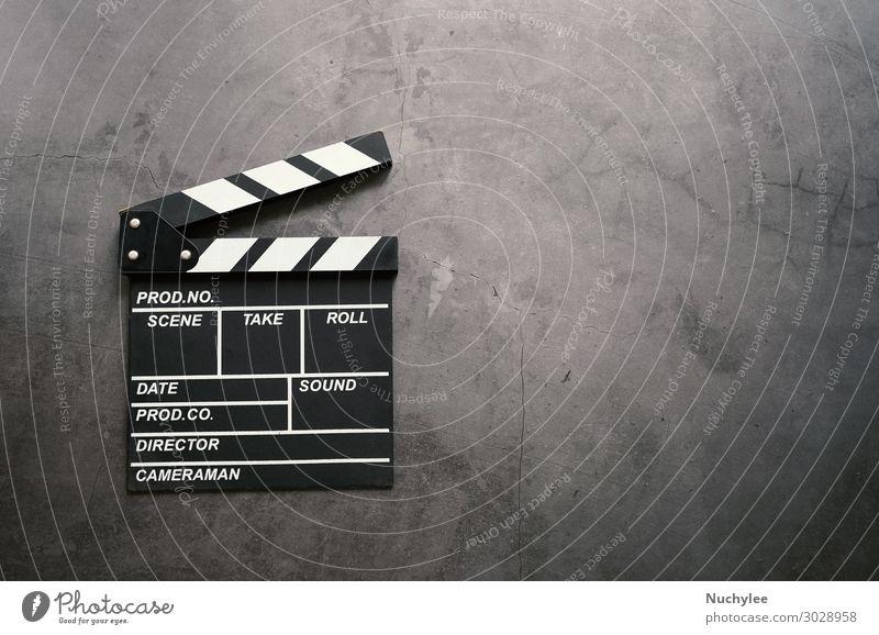Klappe im Flachlegestil Design Entertainment Tafel Industrie Kunst Kino Stein Bewegung dunkel schwarz weiß Film Schiefer Klöppel Holzplatte Applaus Hintergrund