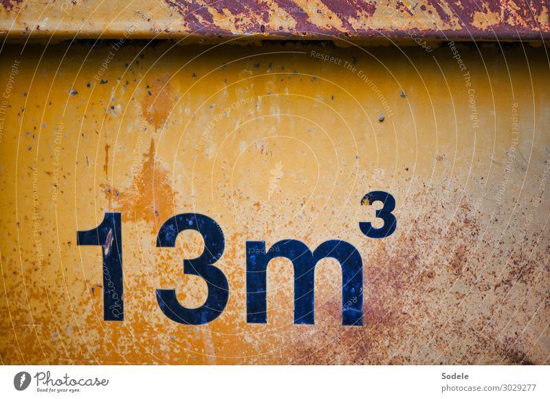 Bauschutt-Container mit Gebrauchsspuren Baustelle Güterverkehr & Logistik Dienstleistungsgewerbe Recyclingcontainer Stahl Rost Zeichen Ziffern & Zahlen alt
