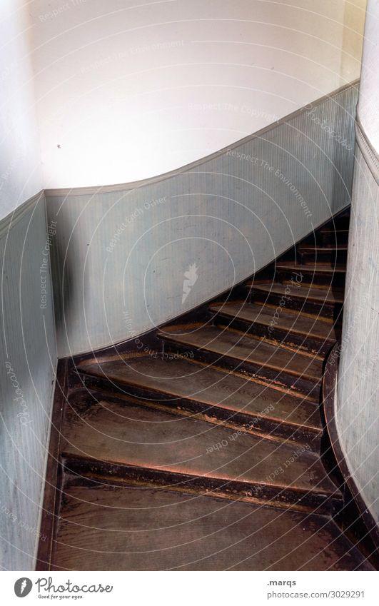 2. OG Mauer Wand Treppe Treppenhaus Beton Holz alt braun grau weiß Perspektive Wege & Pfade Zeit oben Altbau Farbfoto Innenaufnahme Menschenleer