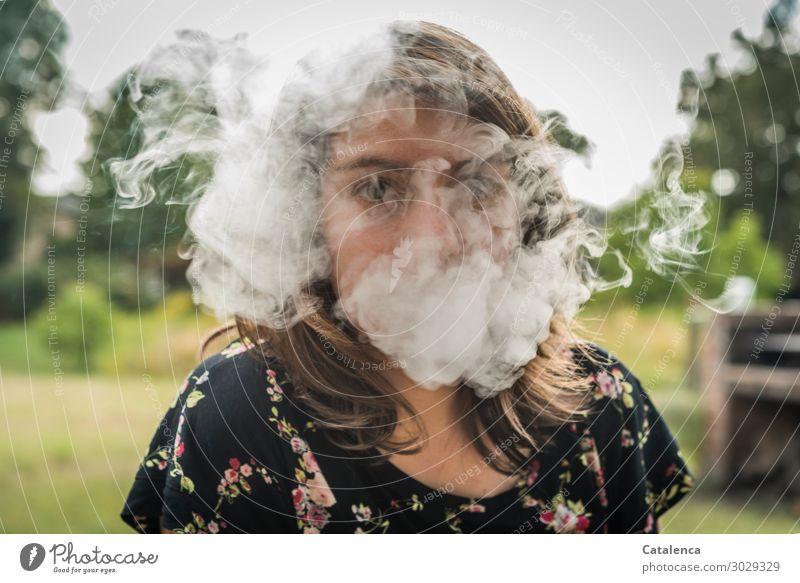 Verhüllung II Rauchen Rauschmittel feminin 1 Mensch Landschaft Pflanze Himmel Sommer Baum Gras Abgas rauchend beobachten genießen bedrohlich braun grau grün