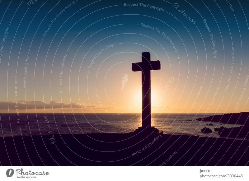 † Himmel Ferien & Urlaub & Reisen Sommer blau schön Landschaft Sonne Meer ruhig schwarz Religion & Glaube orange braun Horizont Idylle Insel