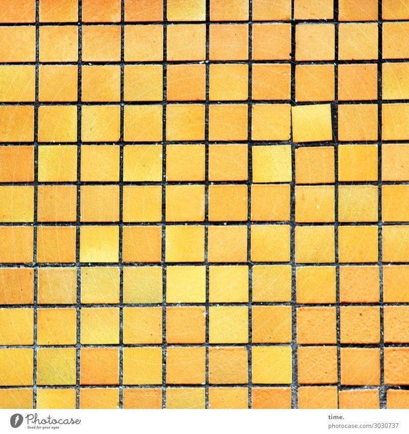 Abweichler Mauer Wand Fassade Fliesen u. Kacheln Stein Linie Quadrat historisch einzigartig Stadt gelb Leben Ausdauer standhaft Ordnungsliebe Nervosität