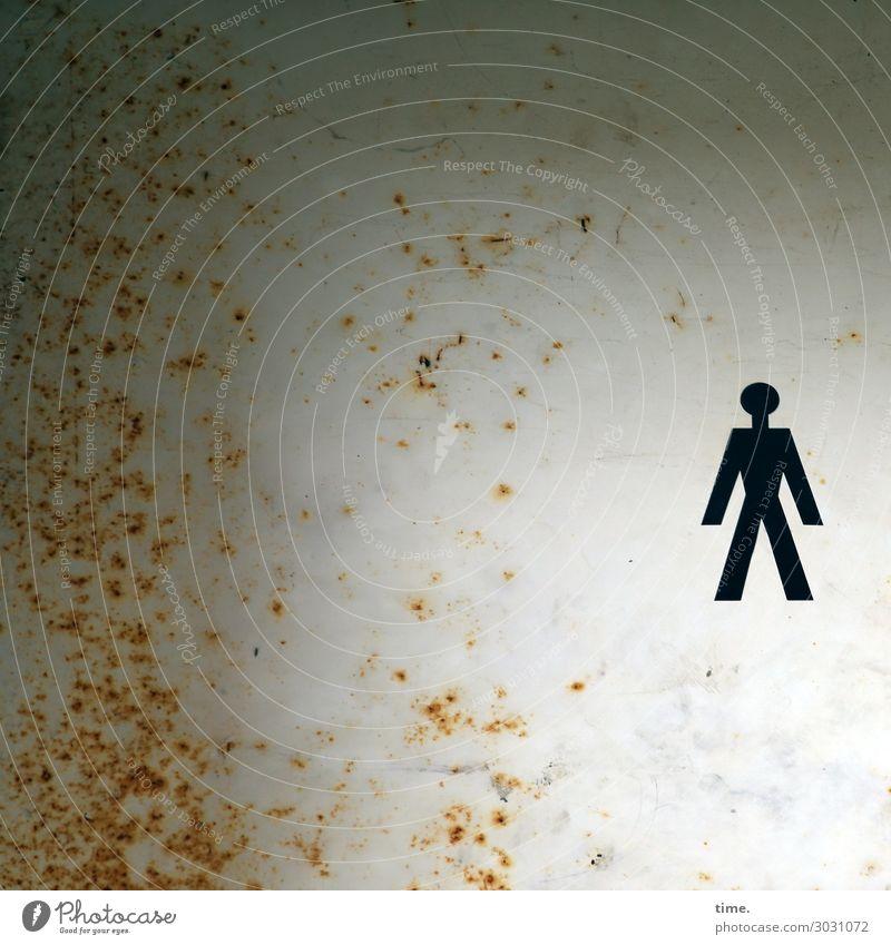 lost & placed | UT Kassel Mauer Wand Dekoration & Verzierung Rost Fleck Ikon Körper Mensch Metall Zeichen kaputt trashig selbstbewußt Ausdauer standhaft