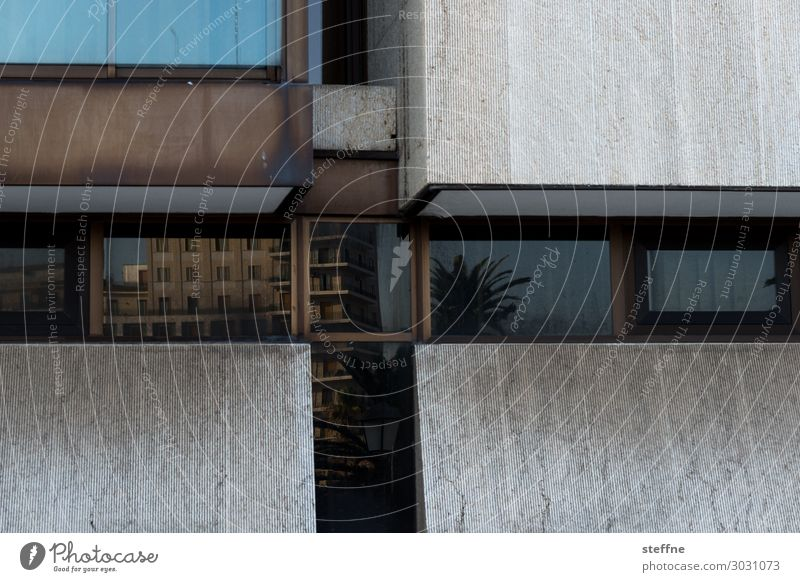 reflections Fassade Stadt Kreuz bari Apulien Italien Reflexion & Spiegelung Palme Ferien & Urlaub & Reisen Beton brutalismus Architektur Farbfoto Außenaufnahme