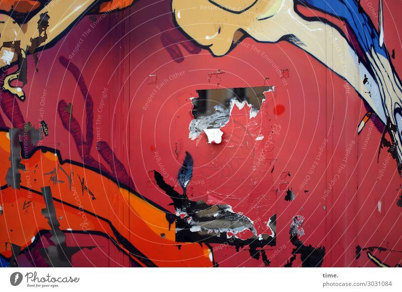 die Wand war im Weg | AST 10 Mauer Plakatwand Papier Karton Zeichen Schilder & Markierungen Graffiti Linie Loch kaputt rebellisch trashig mehrfarbig rot