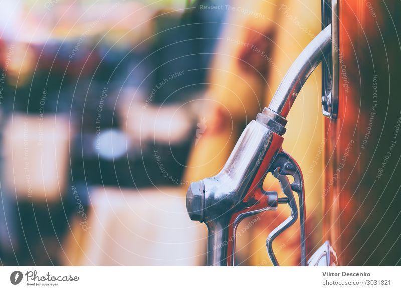 Vintage-Kraftstofftankpistole mit Hintergrund Alkohol Stil Design Ferien & Urlaub & Reisen Haus Industrie Umwelt Verkehr Straße PKW Metall Stahl Erdöl alt