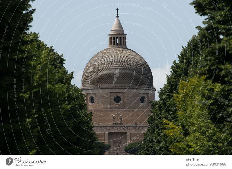 Chiesa 3 Kirche Religion & Glaube Italien Rom Weltausstellung Moderne Architektur Kuppeldach Christentum Katholizismus Allee Baum harmonisch Basilika
