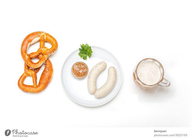 bayerische Weißwürste Wurstwaren Frühstück Mittagessen Getränk Alkohol Bier Teller Oktoberfest Holz frisch weiß Tradition Weißwurst Aufsicht Petersilie