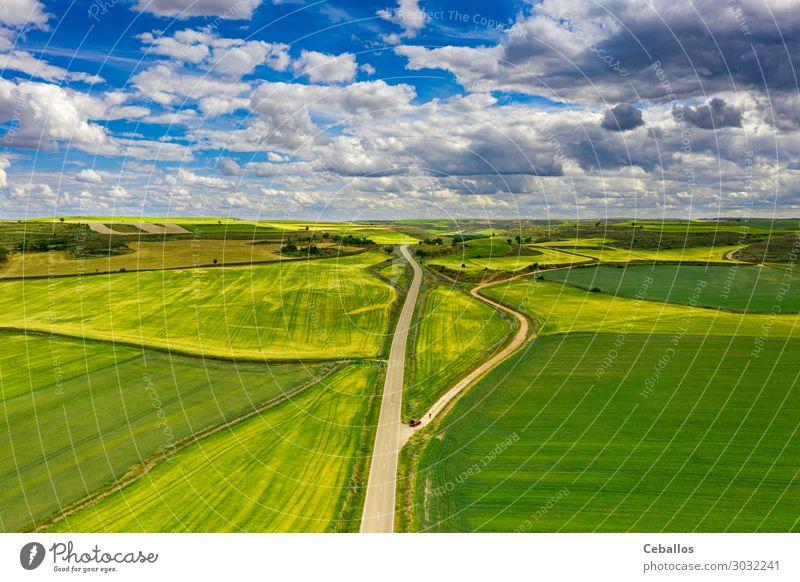 Landwirtschaftliche Felder in einem Dorf in Spanien. schön Sommer Kultur Natur Landschaft Pflanze Gras Wiese Terrasse Fluggerät Wachstum oben grün Farbe Osten