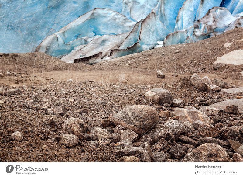 Gletscher auf dem Rückzug Ferien & Urlaub & Reisen Urelemente Erde Felsen kalt blau braun demütig Völlerei Surrealismus Umwelt Umweltverschmutzung Umweltschutz