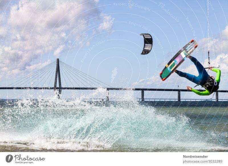 Kitesurfen an der Ostsee Freizeit & Hobby Sommerurlaub Sport Fitness Sport-Training Wassersport Mensch maskulin Junger Mann Jugendliche Erwachsene Urelemente