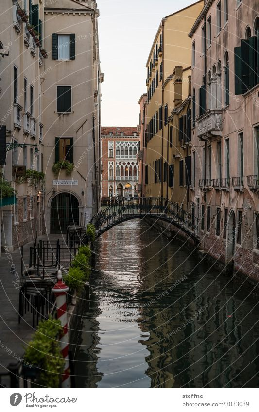Kanal Altstadt Treppe Sehenswürdigkeit außergewöhnlich Brücke Venedig Italien Tourismus Ferien & Urlaub & Reisen Farbfoto Außenaufnahme Menschenleer