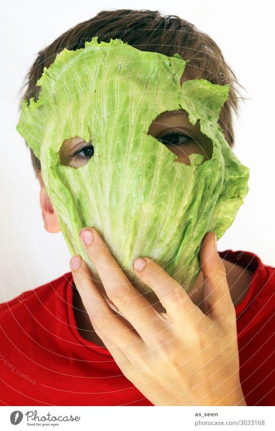 Strenger Vegetarier Kind Farbe grün rot Freude Essen Auge Junge außergewöhnlich Kopf Ernährung Kindheit Kreativität authentisch Perspektive einzigartig