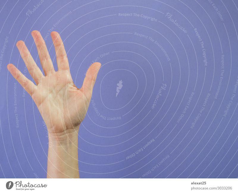 Hand mit fünf erhobenen Fingern auf violettem Hintergrund Erfolg Mensch Frau Erwachsene Arme Frieden 5 5. Kaukasier Mitteilung Entwurf Textfreiraum