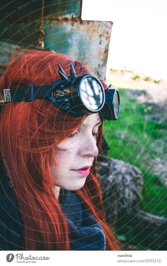 Junge Frau in Steampunk-Kleidung Stil Gesicht Leben Arbeit & Erwerbstätigkeit Industrie Mensch feminin Jugendliche Erwachsene 1 18-30 Jahre Punk Erde