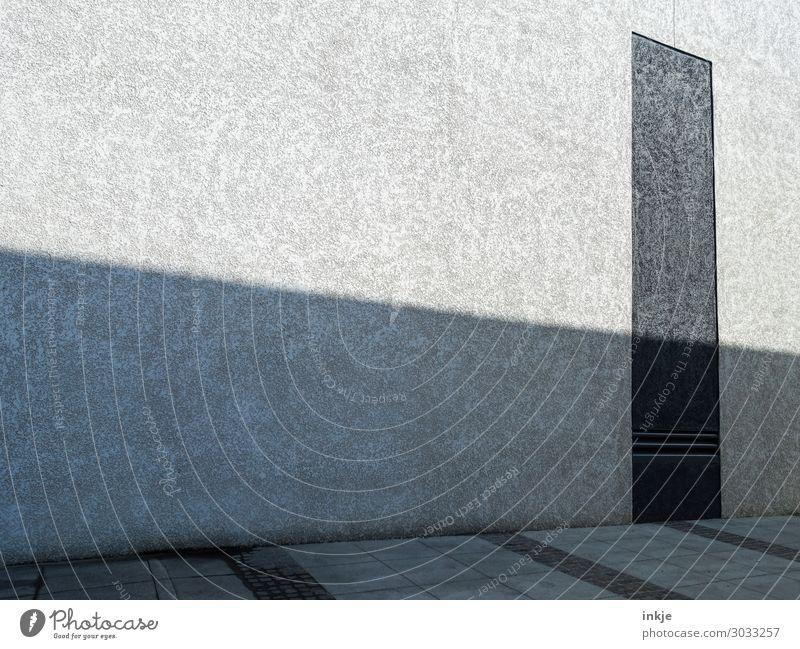 Fassade, Boden, Schatten Menschenleer Gebäude Architektur Mauer Wand Stein Beton dunkel hell grau schwarz kahl modern unpersönlich Farbfoto Gedeckte Farben