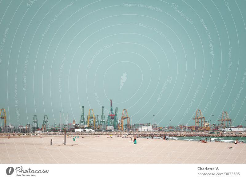 Strandidylle Ausflug Sommer Sommerurlaub Sonne Meer Sand Wolkenloser Himmel Schönes Wetter Insel Sardinien Hafen Schwimmen & Baden authentisch groß braun türkis