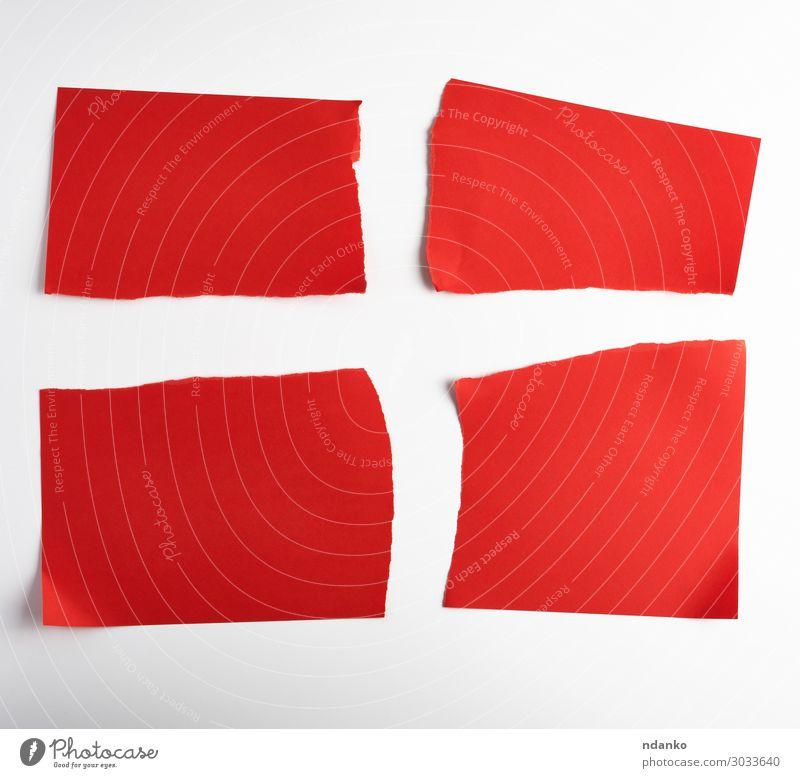 verschiedene leere Stücke von rotem Papier auf weißem Hintergrund Büro Business Sammlung Streifen schreiben oben Idee Vorlage Element blanko Mitteilung Entwurf