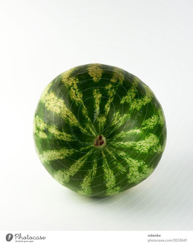 große grün gestreifte ganze Wassermelone Frucht Dessert Ernährung Essen Vegetarische Ernährung Diät Sommer Natur frisch saftig weiß Ackerbau Beeren kreisen