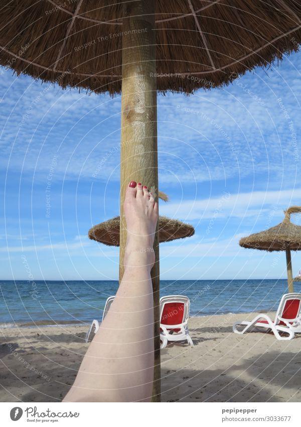 Bein Erholung Freizeit & Hobby Ferien & Urlaub & Reisen Tourismus Ferne Sommer Sommerurlaub Strand Meer Insel Wellen feminin Frau Erwachsene Haut Beine Fuß 1