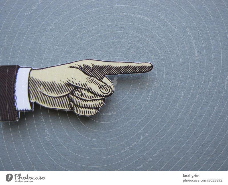 Richtungsweisend Zeichen Kommunizieren grau schwarz weiß Neugier Zeigefinger richtungweisend Hand Farbfoto Studioaufnahme Menschenleer Textfreiraum rechts