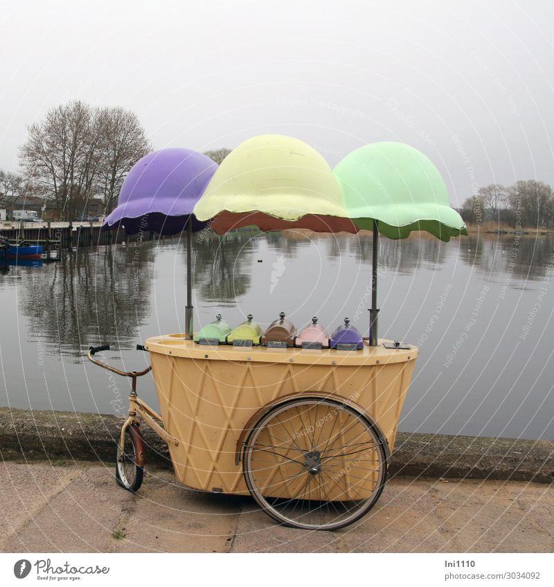 Eiskarren, Kamminke Usedom Eiswagen blau braun gelb grau grün schwarz Fischerdorf Eisverkauf Nostalgie Fahrrad Sonnenschirm mehrfarbig lustig historisch Wasser