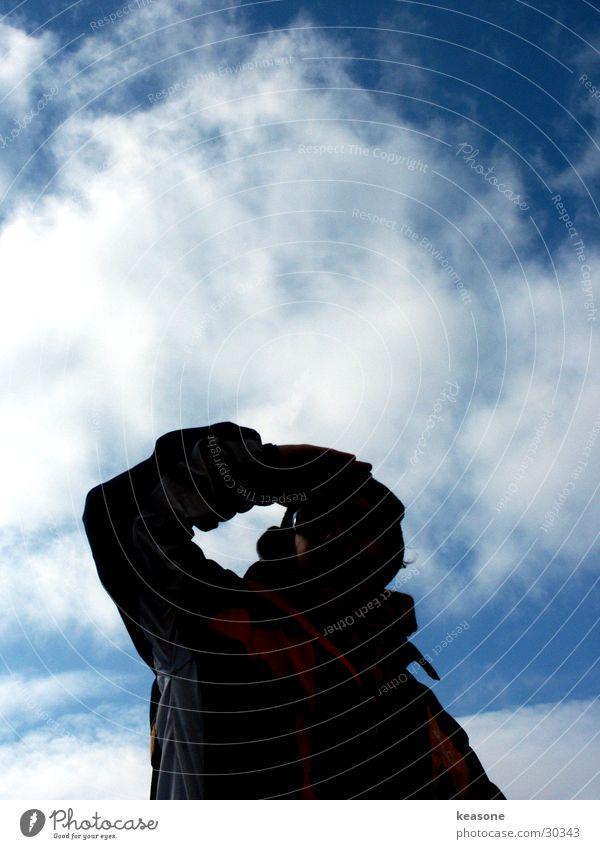 lui schwarz Gegenlicht Horizont Mann Himmel blau fallen http://www.keasone.de