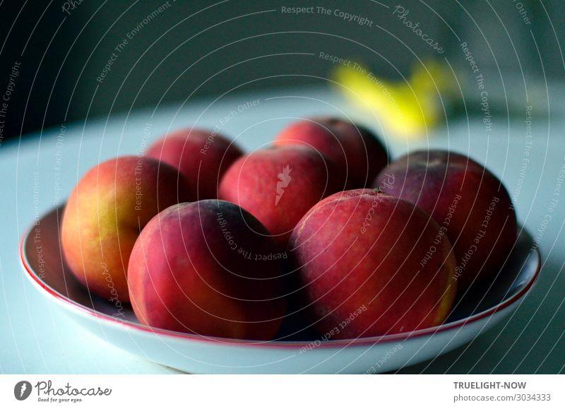 Reife Pfirsiche Frucht Ernährung Bioprodukte Vegetarische Ernährung Leben Sinnesorgane frisch Gesundheit lecker saftig weich blau gelb grau rot Fröhlichkeit