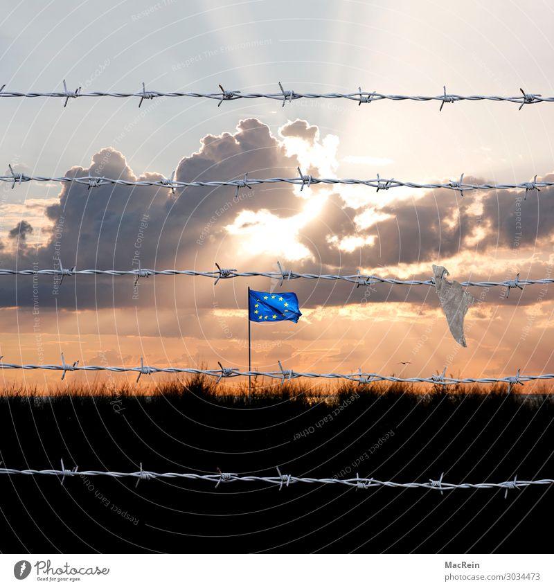 Grenzzaun Richtung EU Himmel Nachthimmel Horizont Sonnenaufgang Sonnenuntergang Schönes Wetter Zeichen authentisch bedrohlich dunkel Auswanderer Aussiedler