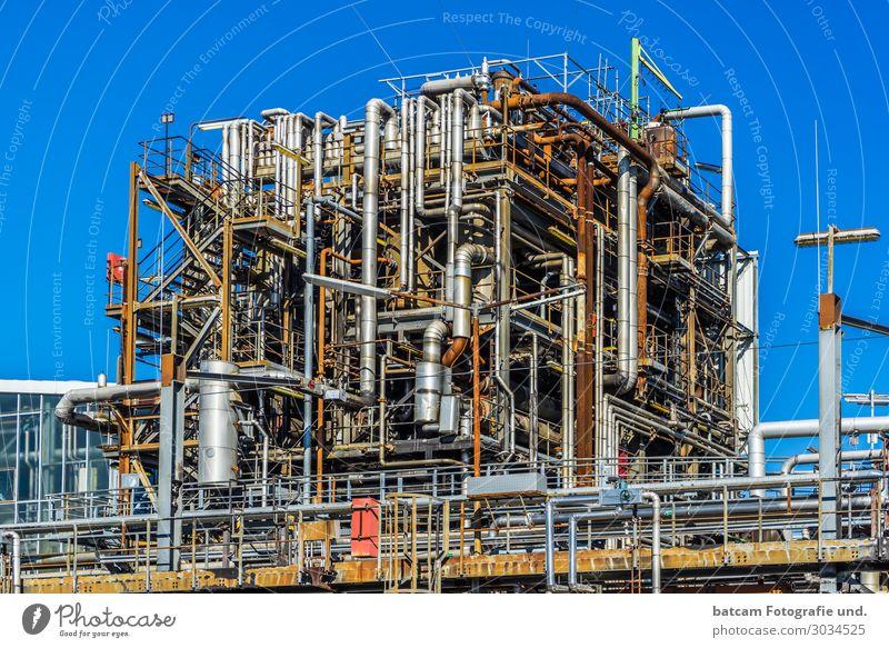 Rohre einer Öl Anlage Chemie Anlage Arbeit & Erwerbstätigkeit Wirtschaft Industrie Energiewirtschaft Technik & Technologie Industrieanlage blau braun gelb grau