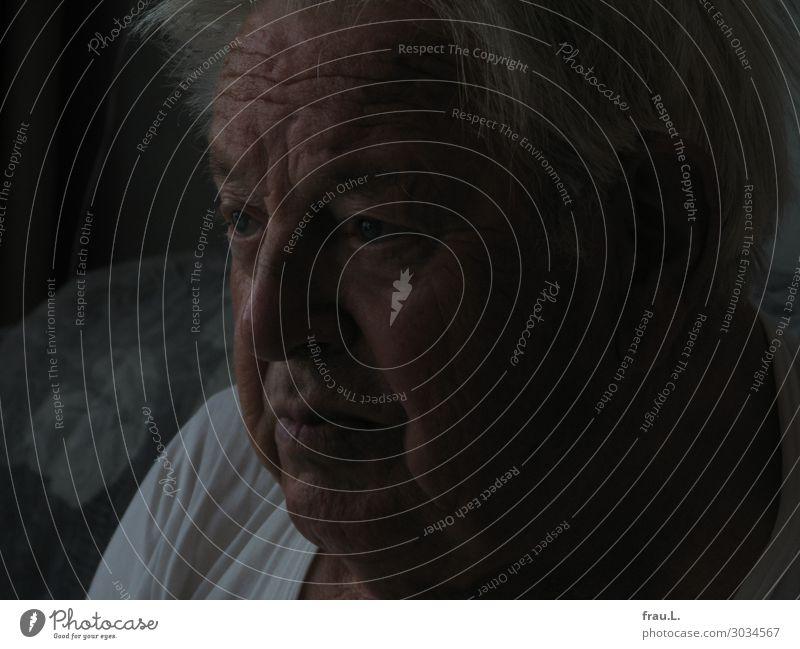 Dämmerung Mensch maskulin Mann Erwachsene Männlicher Senior Vater Gesicht 1 60 und älter beobachten Fernsehen schauen Blick sitzen alt authentisch Krankheit