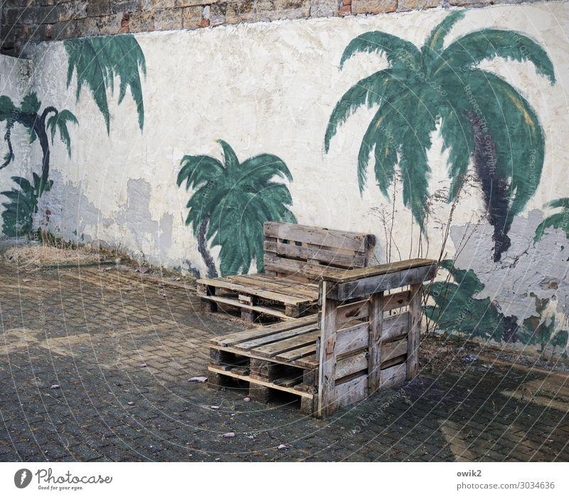 Notlösung Kunst Kunstwerk Gemälde Torgau Sachsen Deutschland Mauer Wand Paletten Wandmalereien Palme Palmenwedel Stein Beton Holz Sehnsucht Fernweh Hoffnung