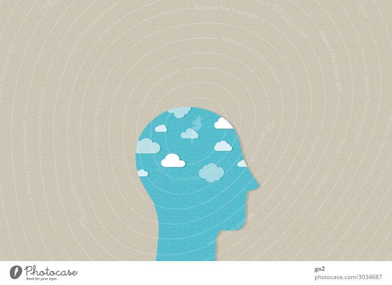 Wolken im Kopf Mensch 1 Klima Wetter Zeichen ästhetisch außergewöhnlich frei Unendlichkeit blau Gefühle Gelassenheit ruhig Sehnsucht Fernweh Gesundheit Idee