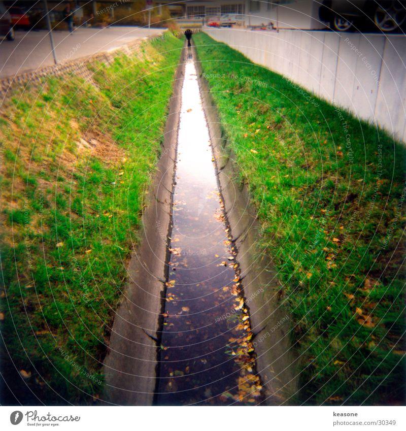the bach Wasser Gras Beton Fluss Bach Abwasserkanal Mittelformat Vignettierung