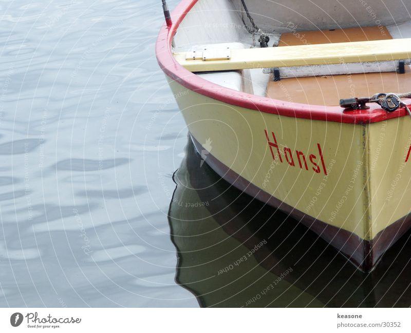 hansl rot gelb Wasserfahrzeug See Schifffahrt Teich Motor Chiemsee
