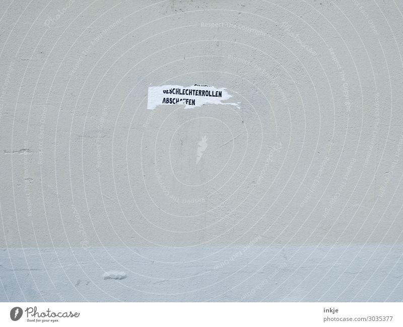 Sagt der Sekretär zur Kapitänin Lifestyle Menschenleer Mauer Wand Fassade Papier Zettel Schriftzeichen Etikett Gesellschaft (Soziologie) Geschlecht typisch
